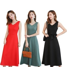 Solid Casual Midi V-Neck Sleeveless Office Lady Summer Women A-Line Pattern Bow Mid-Calf Empire Waistline Female Dresses