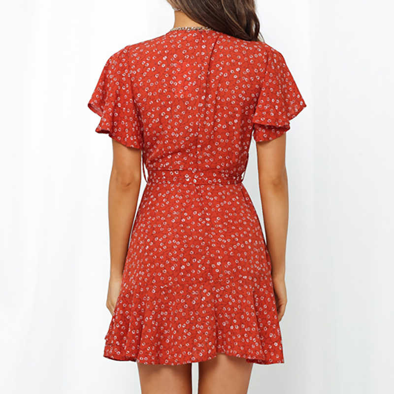 Aachoae فستان قصير صيفي موديل 2020 مطبوع عليه بوهيمي فستان نسائي برقبة على شكل V فستان مناسب لقضاء العطلات على الشاطئ بأكمام قصيرة مكشكشة فستان Vestidos