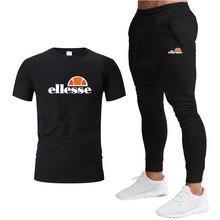 Camiseta + pantalón para hombre, ropa deportiva informal de 2 piezas, traje deportivo de marca con estampado, top + Pantalones p