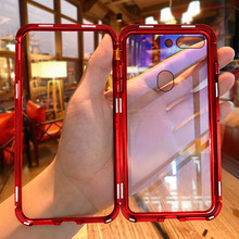 360 Full Magnetic Phone Case For Oneplus 7 Pro Metal Bumper Tempered Glass Transparent Cover 6 6T 5T Armor