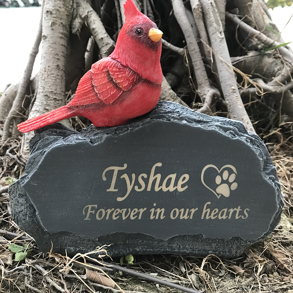 Personalized Pet Memorial Stones Grave Markers withMini Red Cardinal Bird Ornament On Stone, Pet Dog Garden Stone for Outdoor