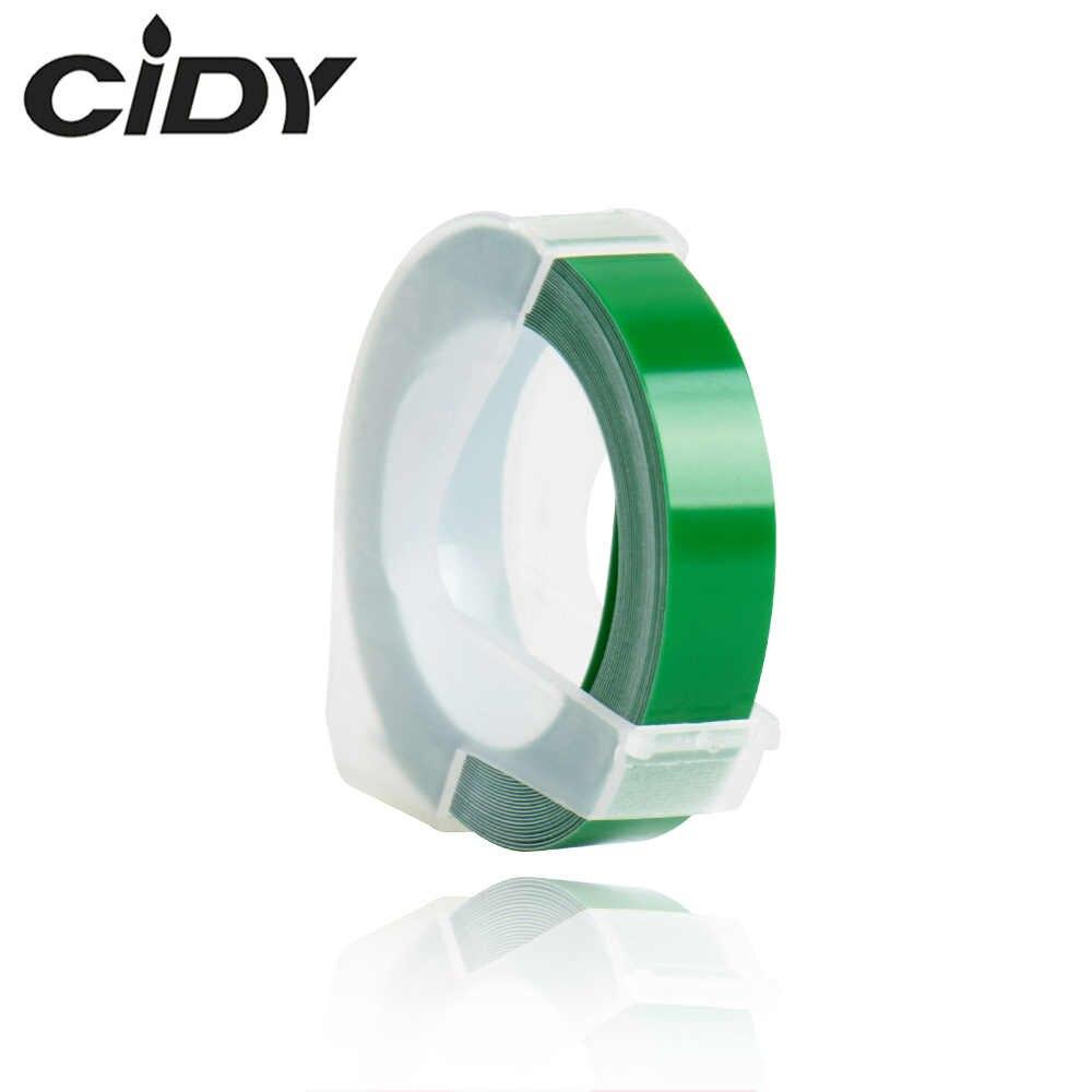 CIDY 1pcs สีเขียวสำหรับ DYMO 1610 12965 1880 เครื่องทำฉลาก DYMO 3D พลาสติกลายนูน Xpress ป้าย 9 มม.* 3m MOTEX E101