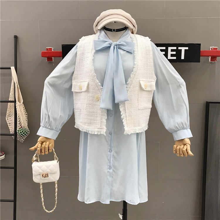 Женский комплект, осень 2019, новый твидовый короткий жилет, кардиган, жакет + бант, длинный рукав, платье, костюм из двух предметов