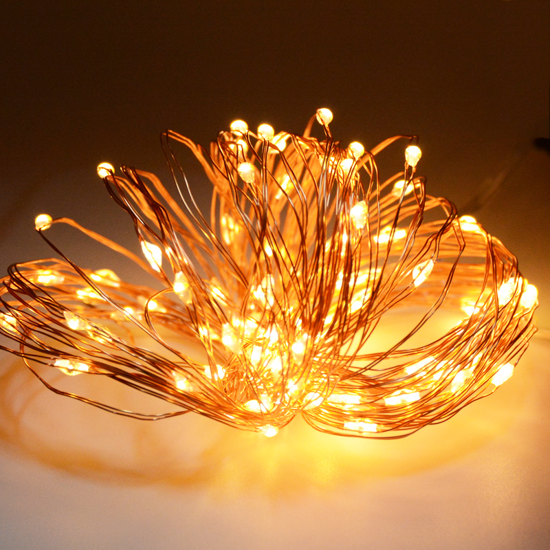SPLEVISI  LED Christmas Fairy Lights Copper Wire String Lights Wedding Garland Light Indoor And Outdoor + Power Adapter