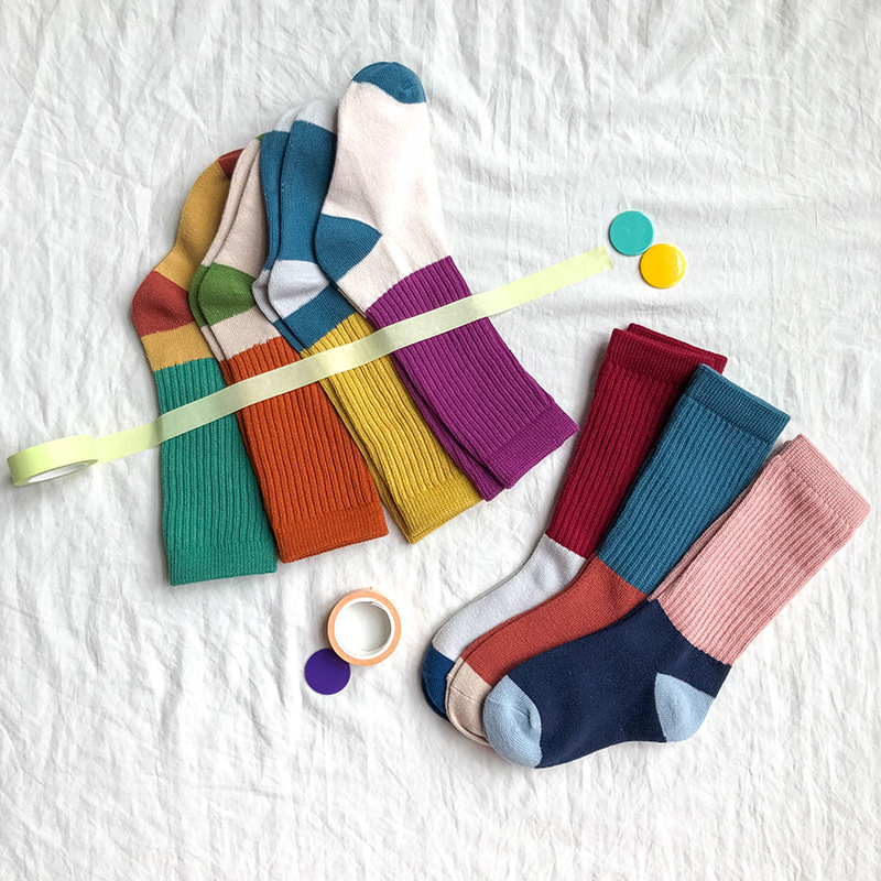 Z181 CHILDREN'S Socks Of A Fashion Children's Socks Autumn And Winter New Style Combed Cotton Mixed Colors Pumping Bunching Sock