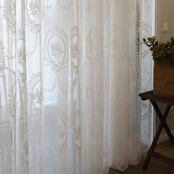 Lace Tulle Curtains Window For Living room The Bedroom American Style Pastoral White Sheer Voile Curtain for Kitchen Home Decor princess style 100% cotton curtains elegant white lace curtains sheer tulles for girl s room window door sheet screen home decor