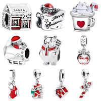 Presentes de natal 925 prata esterlina pulseira flutuante encantos contas caber pandora original pulseiras para colar das mulheres jóias