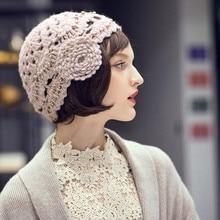 Lady Beret Hat Autumn Winter Female All-match Wool Cap Korean Version New Knitte