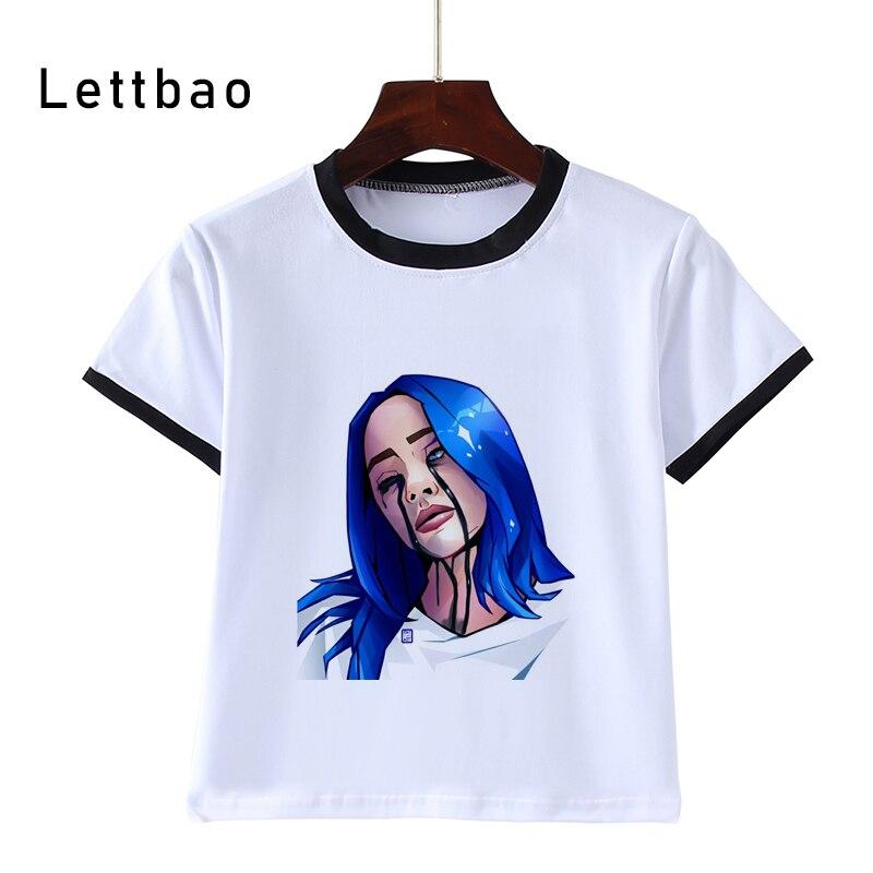 Hot Sale Billie Eilish Harajuku Casual Print Kids T-Shirts Children Summer Baby Clothes Boys/Girls Tops Tees