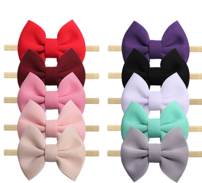 """30pc/lot 4"""" Hair Bows Nylon Headbands Puff Space Cotton Soft Solid Bows Elastic Hair Band DIY Hair Accessories For Girls Party"""