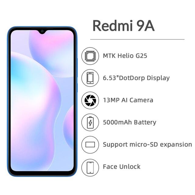 """Global Version Xiaomi Redmi 9A Mobile Phone 2GB RAM 32GB ROM MTK Helio G25 Octa Core 6.53"""" 5000mAh 13MP Camera Smartphone 4"""