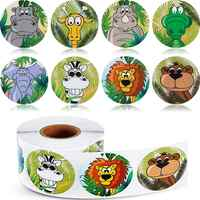 500PCS Jungle Animals Stickers for DIY Birthday Party Decorations Zoo Animal Labels Game Prizes Wall Decals Creative Arts Crafts