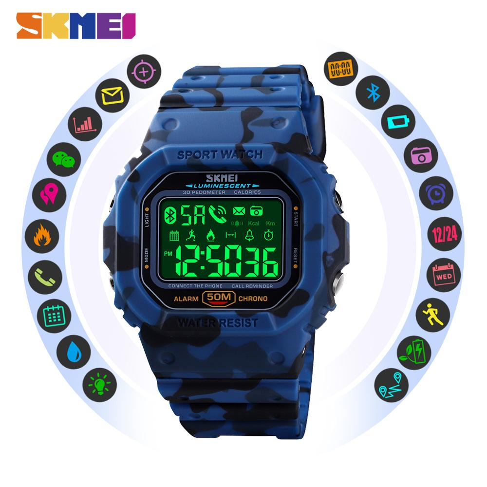 SKMEI Men Digital Wrist Watch Bluetooth Call App SMS Remind Distance 50M Waterproof Sports Watches Male Clock Reloj Hombre 1629