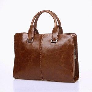 Image 3 - Mens Business office Briefcase Computer Laptop Handbag male Top PU Leather Tote man Large Solid Shoulder bags Black Vintage bag