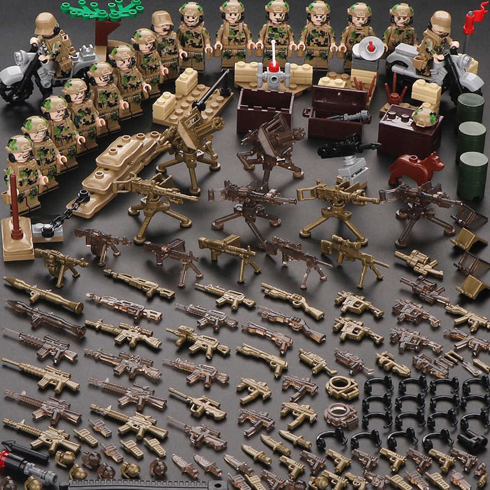 Military Building Blocks Set German Soviet Army WW2 Soldier Weapon Special Force CS SWAT Team Guns Toy Figures Accesories Bricks