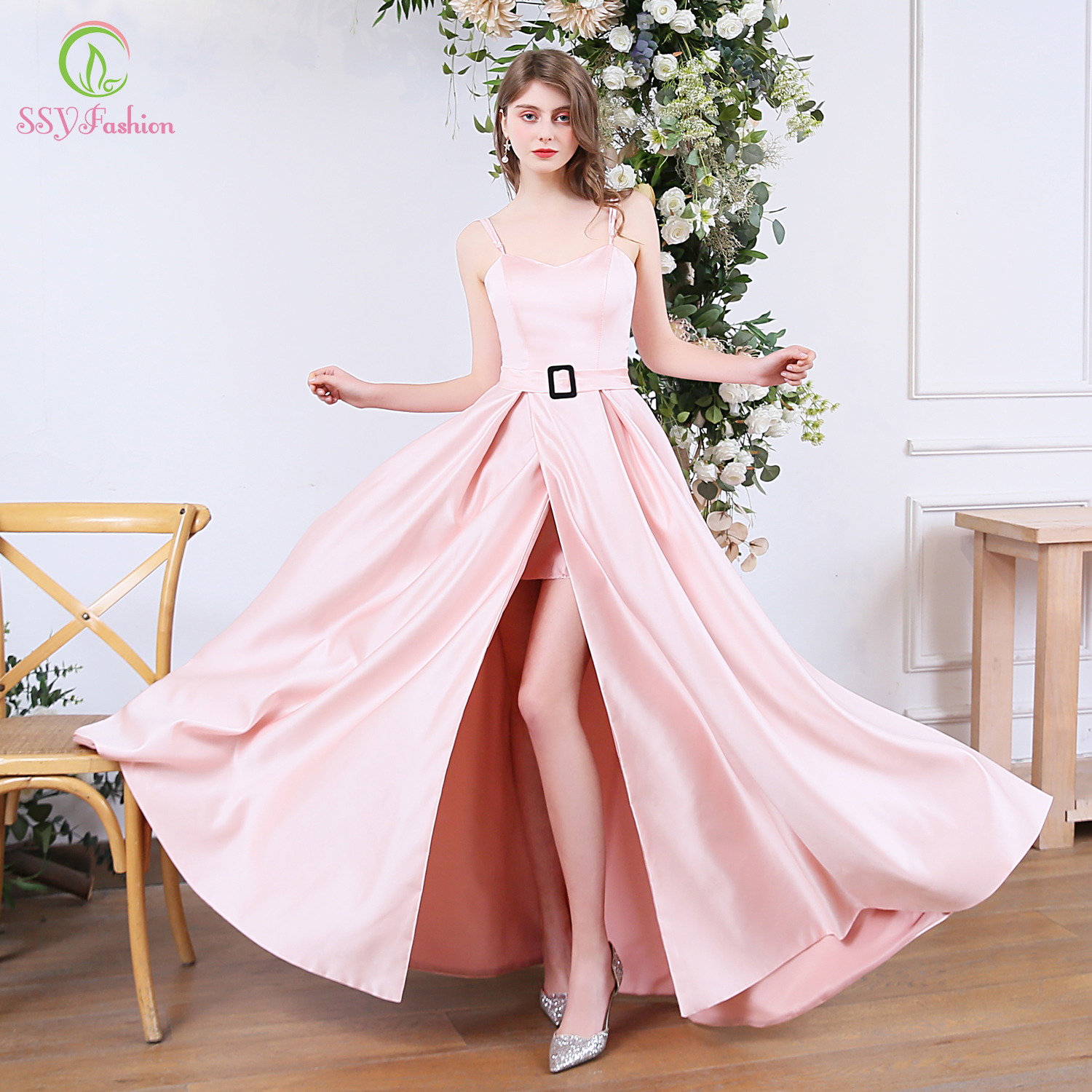 SSYFashion New Sweet Pink Satin Evening Dress Sexy Sleeveless Backless Simple High-split Long Formal Prom Gowns Vestido De Noche