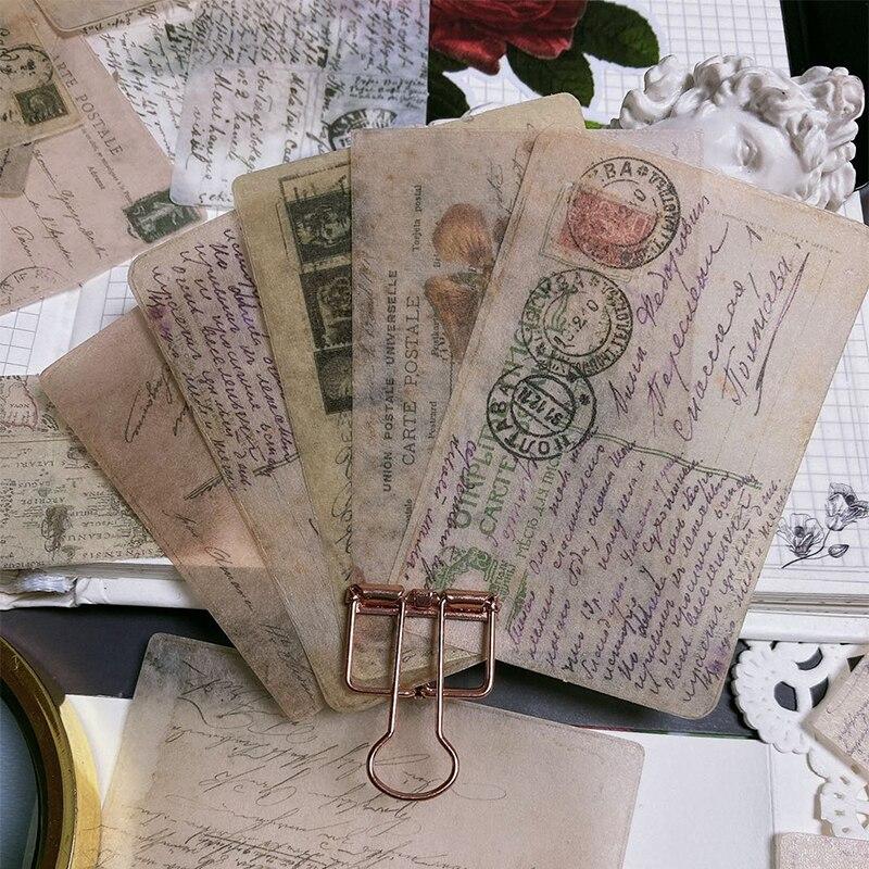 40pcs / Bag Vintage Junk Journal Memories Material Sticker DIY Scrapbook Album Mobile Phone Diary Happy Plan Decorative Stickers