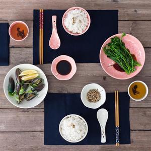 Image 3 - Styl japoński ceramiczne zastawy stołowe zestaw sztućce gospodarstwa domowego kreatywny ceramiczna zastawa (różowy)
