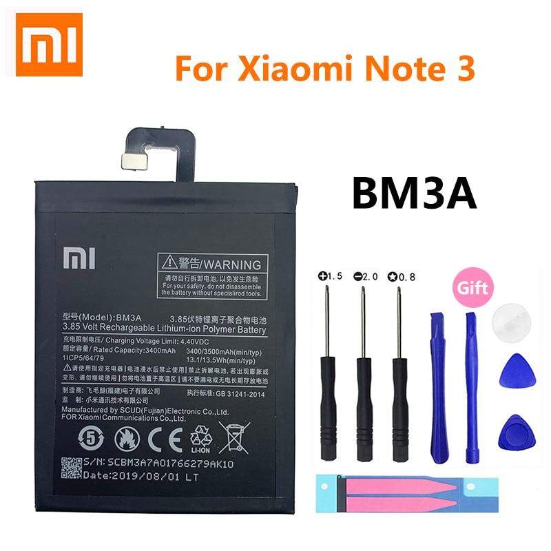 100% оригинал Xiao Mi батарея для телефона BM3A для Xiaomi Note 3 Note3 сменная батарея 3400 мАч батарея для телефона с инструментами