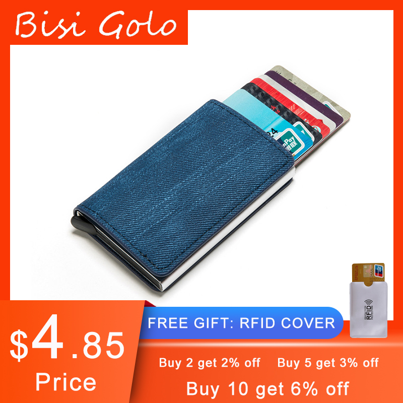 BISI GORO Anti-theft Clutch Single Box Men Women Wallet 2020 New RFID Blocking Card Holder Denim Business Pop-up Metal ID Case