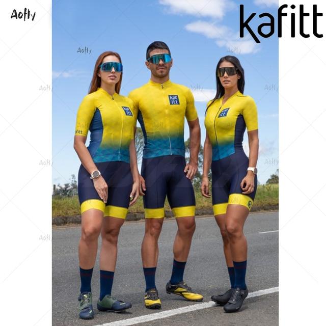 Kafitt amarelo azul manga curta casal ciclismo triathlon terno ciclismo skinsuit maillot ropa ciclismo mtb bicicleta macacão verão roupas com frete gratis  Casal amarelo com macacão triathlon casal roupas com frete gra 1