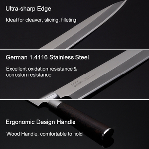 Image 3 - Японский нож сашими для суши, 27 см, кухонный нож из немецкой нержавеющей стали, японский лосось, сырая рыба, филе, янагиба, кухонный нож 10,2 г