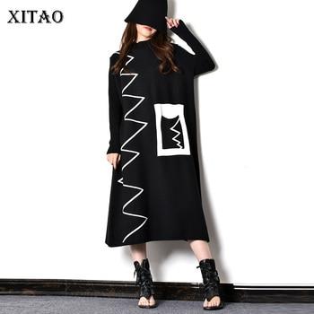 XITAO Patchwork rayas patrón bolsillo Casual Vestido Mujer 2019 invierno marea moda nuevo estilo de pie de cuello vestido recto GCC2046