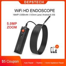 DEPSTECH-endoscopio inalámbrico de 5.0MP, cámara de inspección de serpiente con zoom, boroscopio Industrial Flexible IP67 con WiFi para iOS y Android