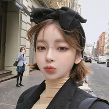 Fashion sweet girls headbands big bow knit fabric elastic headband female supper wide-edge knotted headdress head accessories