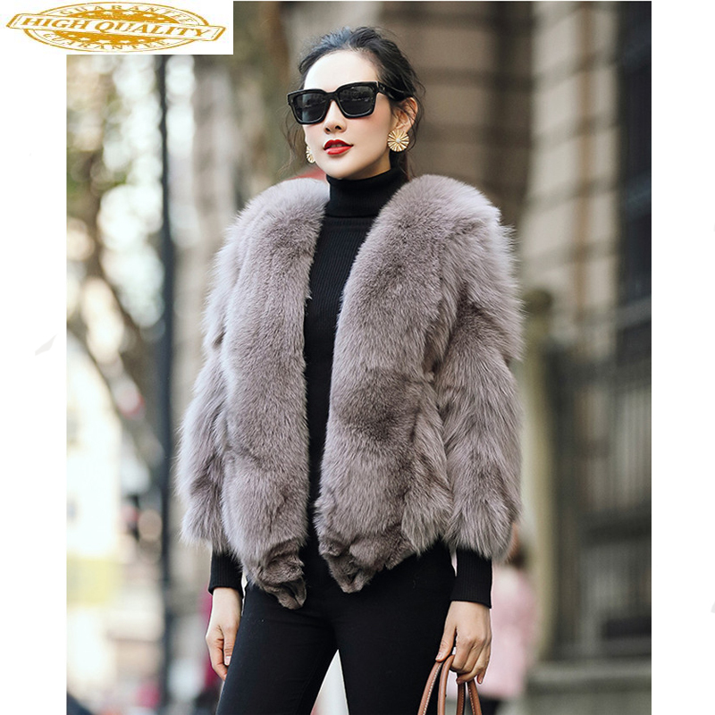 Real Fox Fur Coat Female Natural Fur Coats Autumn Winter Jacket Women Clothes 2019 Warm Short Jackets Manteau Femme MY