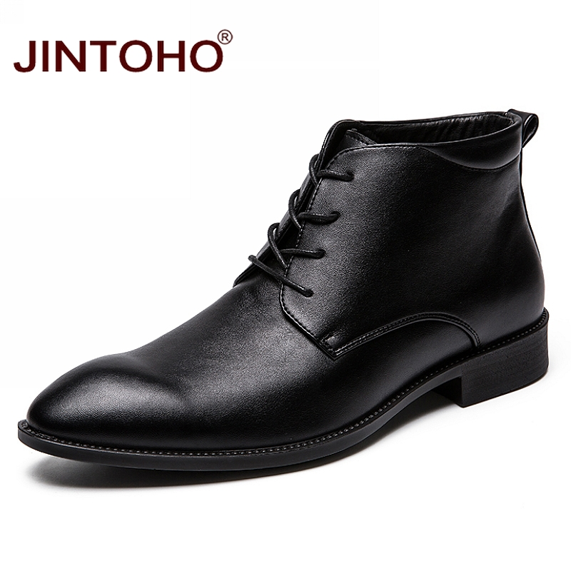 JINTOH Fashion Pointed Toe Leather Boots Black Men Winter Boots Cheap Male Boots Business Winter Shoes New Mens Ankle Boots