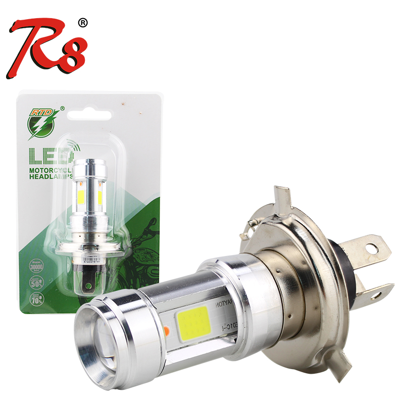 RTD E01C Motorcycle LED Headlight Dual Beam 12W 1200LM H4 HS1 P43T S2 BA20D Light Bulbs Scooter Motorrad E-bikes 3Sides Blue DRL