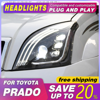 Head lamp Car Styling  for Toyota Prado Headlight 2004-2009 LC2700  LED Headlight DRL Head Lamp LED Bi-Xenon Lens Accessories