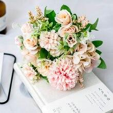 Bouquet de roses artificielles de Style nordique, fausses fleurs, pivoines, pour décoration de maison, en soie