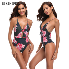 New Sexy Black Floral Swimsuit Women One Piece Suit Deep V Bathing S-XL Girl Backless Padded Swimwear String Monokini