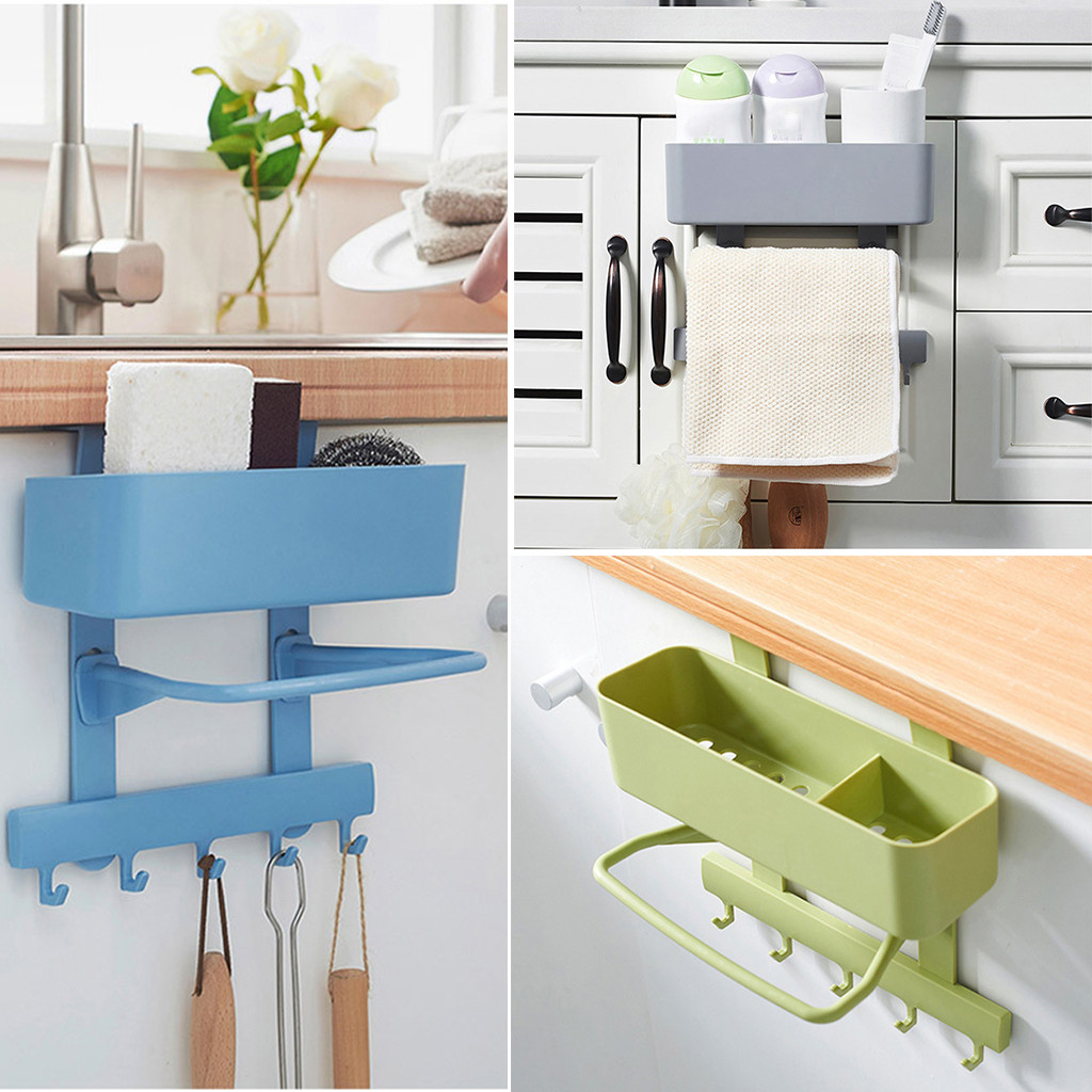 Wall Mounted Kitchen Rack Shelf Hooks Hanger Draining Holder Bathroom Organizer Rangement Cuisine Wall Shelf Kitchen Storage