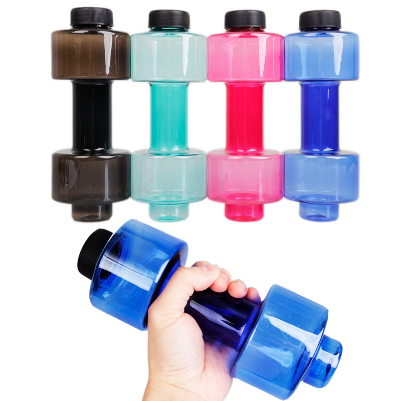 Sports Water Bottles 550ml Leakproof Portable Unbreakable Sports Plastic Bottle Shaker BPA Fitness Dumbbell Unisex