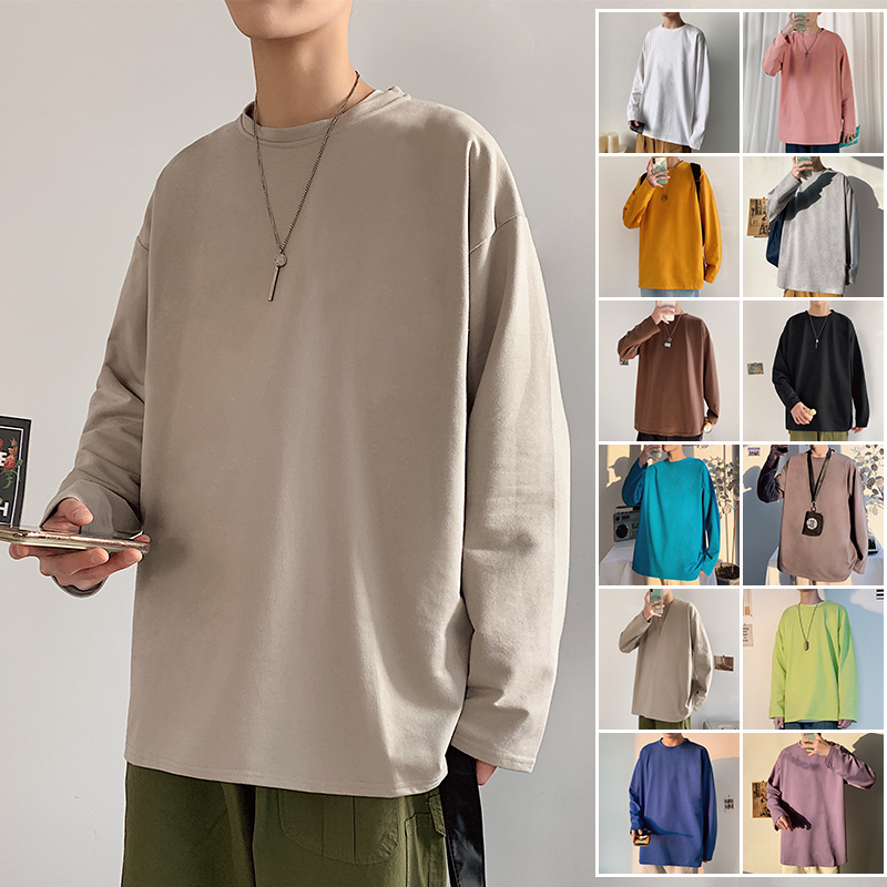 Privathinker Solid Color Men White Long Sleeve T Shirts Korean Hip Hop Oversized Man Casual Tee Men's Streetwear T Shirts