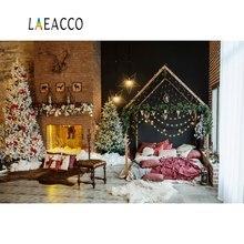 Laeacco Photography Backdrops Christmas Tree Brick Fireplace Boudoir Light Star Wreath Photo Backgrounds Photocall Studio