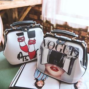 Image 4 - Fashion Cartoon Pattern Pu Leather Crossbody Bags for Women Trending Female Shoulder Handbags Doctor Tote