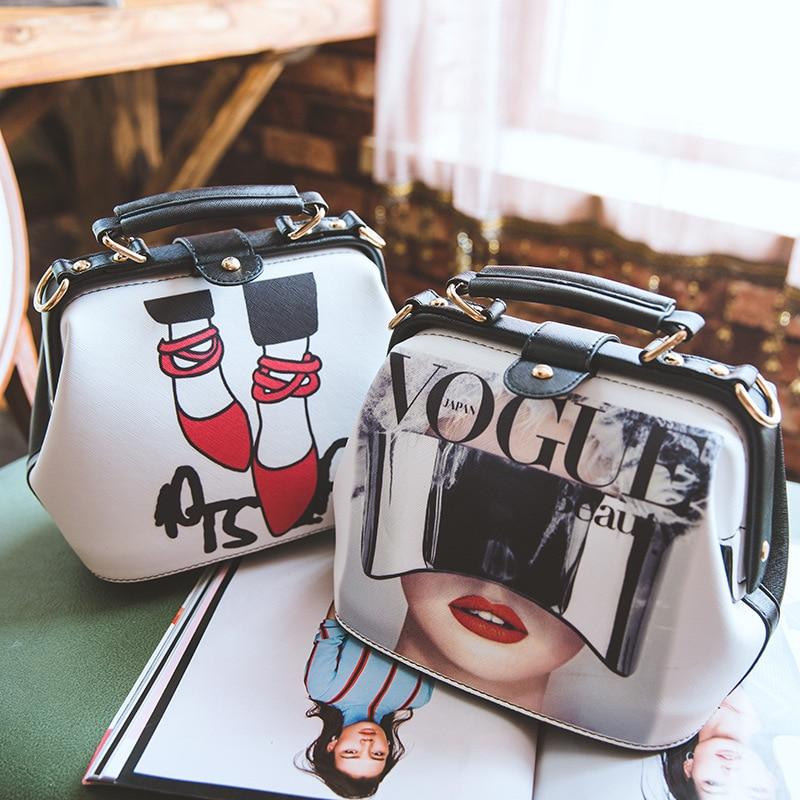 Image 4 - Women Handbag Leather Bag Women's Bags Doctor Small Shoulder Crossbody Bags Cartoon Pattern Rivets Girls Fashion Women Bag-in Shoulder Bags from Luggage & Bags