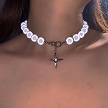 Уникальный дизайн, светящееся жемчужное ожерелье FFLACELL из титановой стали, простая цепочка на ключицу со светоотражающим перекрестным бисе...