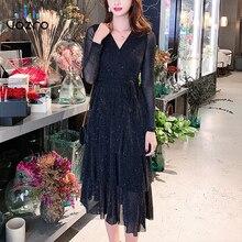VOZRO 2019 Season Sexy Sparkling Self-cultivation V Lead Cake Skirt Long Fund Winter Maxi Dress Women Suit-dress Vestido Dresses