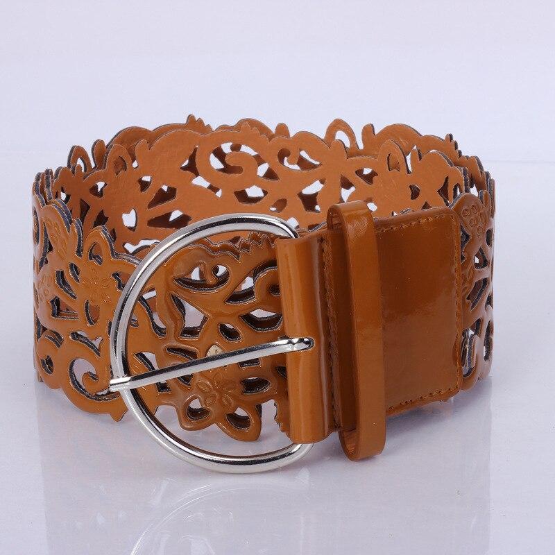 Модный ажурный декоративный широкий пояс, женский пояс, модный кожаный пояс, ретро пояс - Цвет: brown
