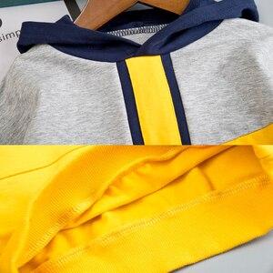 Image 4 - Комплект одежды для маленьких мальчиков, хлопковый спортивный костюм, штаны, пальто с капюшоном, комплект из 2 предметов, детский спортивный костюм, одежда для девочек, цветная строчка