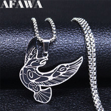 2020 Viking Eagle Stainless Steel Statement Necklace for Men Silver Color Necklaces & Pendants Jewelry gargantilla N3307S02 vnox retro viking spear pendants for men necklaces stainless steel male necklaces tribal style punk necklaces