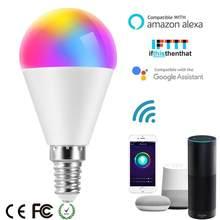 Bombilla LED inteligente con Control por voz, funciona con Alexa, Google Home, APP Smart Life, funciona con lámpara RGB, 6W, E14, E26, E27, B22