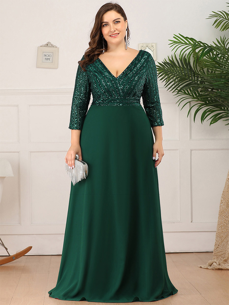 Evening-Dresses Party-Gowns Sequined Ever Pretty Sparkle Double-V-Neck Elegant Plus-Size