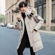 Real Fox Fur Collar Men Winter Down Jacket Casual Thick Warm 90% White Duck Long Parka Coat Black Windbreaker