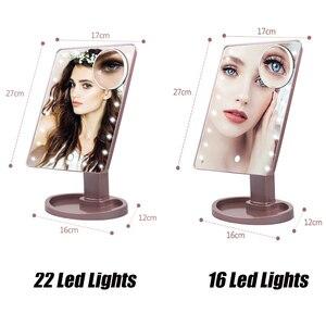 Image 2 - 22 LED אור מגע מסך 1X 10X זכוכית מגדלת מראת איפור שולחן עבודה השיש בהיר מתכוונן כבל USB או סוללה שימוש 16 מנורה